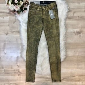 NWT 7 For All Mankind Gold, Floral Design Jeans